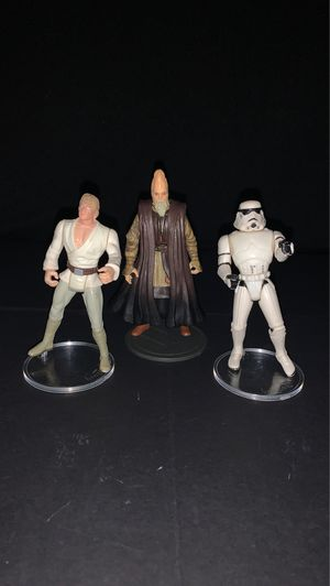 Vintage 1995 Star Wars Farmboy Luke SkyWalker and Storm Trooper 2002 Ki-Adi-Mundi figures for Sale in Gilbert, AZ