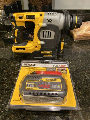DEWALT 20-Volt MAX Lithium-Ion Cordless 1 in. SDS-Plus Brushless L-Shape Concrete & Masonry Rotary Hammer and one flex battery for Sale in Whittier, CA