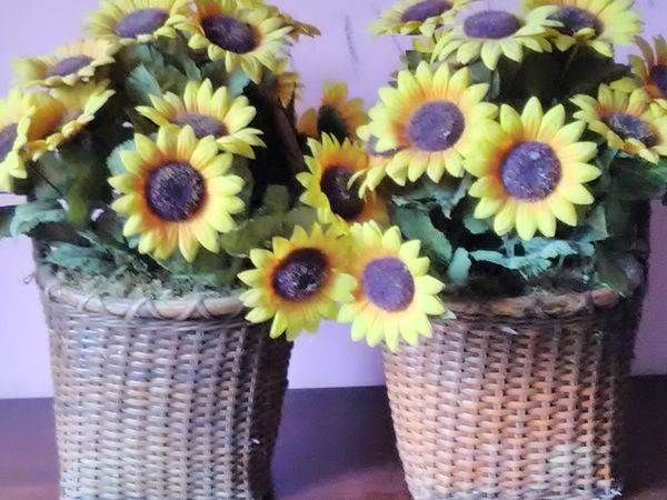 Silk Sunflowers in Woven Baskets