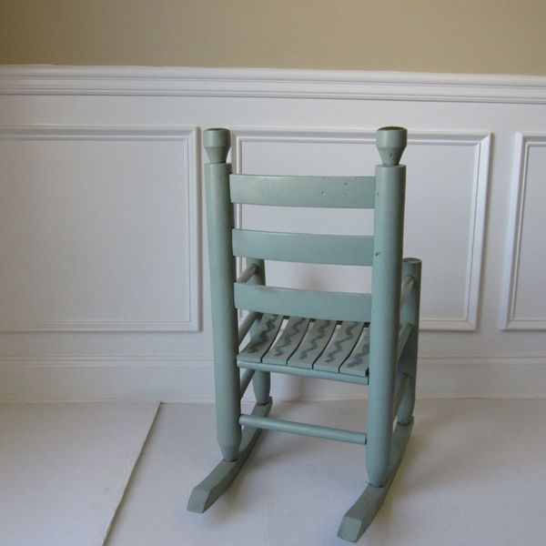 """Antique Vintage Rocking Chair Childrebs Kids Small Solid Wood Light Blue Hand Painted Great condition Measurements: 28"""" H x 16"""" W x 13"""" D"""