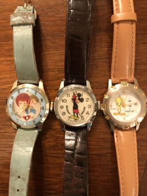 3 Vintage Watches - Barbie / Ken, Disney Mickey Mouse & Tweety Bird (non working) for Sale in Orland Hills, IL