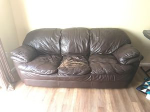 Brown Leather Couch for Sale in Ashburn, VA