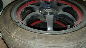 Rims and tires for mazda 4 lug universal for Sale in Las Vegas, NV