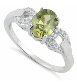 Sterling Silver Olive Green Oval Cut CZ Ring for Sale in Chicago, IL