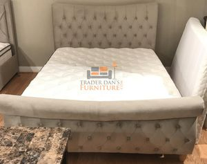 Brand New King Size Champagne Suede Platform Bed Frame ONLY for Sale in Silver Spring, MD