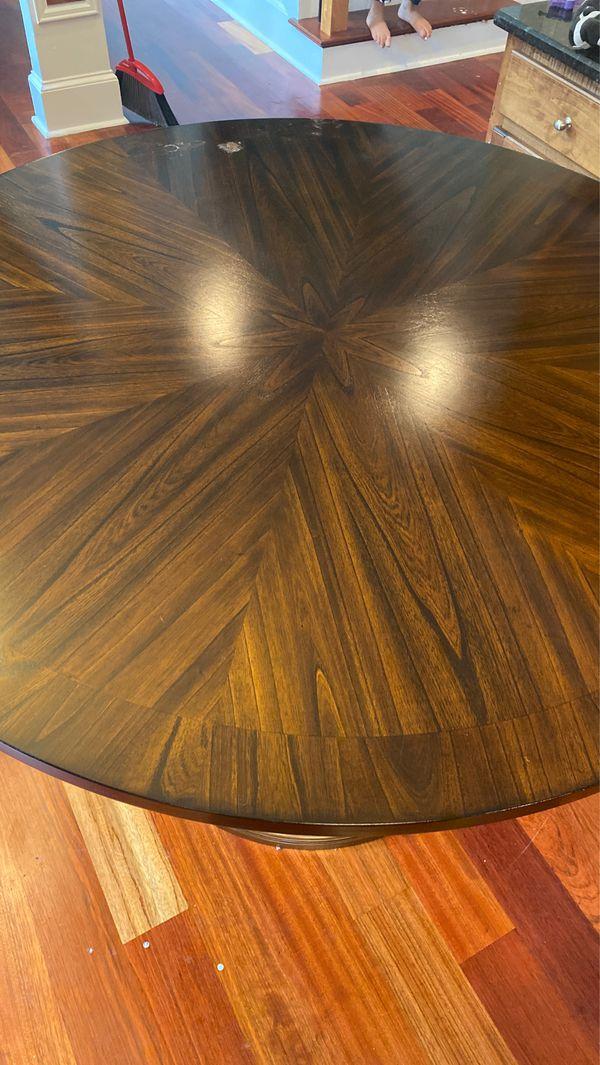 Dark wood kitchen table.