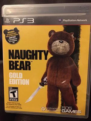 Complete Original PlayStation 3 -PS3 Naughty Bear Gold Edition for Sale in Surprise, AZ