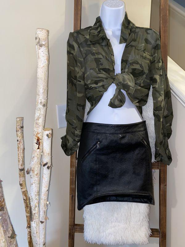 Camo mesh shirt and leather skirt