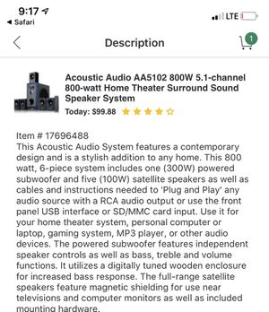 AA Acoustic Audio Home Theatre Surround Sound System for Sale in West Hollywood, CA