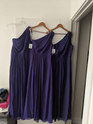 David's Bridal Long One-Shoulder Crinkle Chiffon Dress sizes 8, 10, 12 for Sale in Berkeley, CA