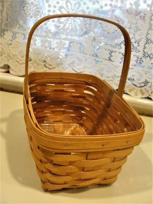 "Vintage .. LONGABERGER .. 1999 .. Rectangular Basket with Handle and Protector .. 20 years old .. 10.75"" x 7.75"" x 5.5"" .. smoke free .. bottom dark for Sale in Bristol, PA"