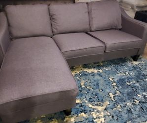 New Assembled Small Sectional Gray Color Upholstered Delivery Available for Sale in Las Vegas,  NV