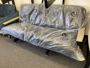 CLEARANCE: Metal Sofa Futon with Coil Mattress (NEW!!) Full Size when you make a bed! $225 Fathers Day Sale 2020! 🧔🏻 for Sale in Houston, TX