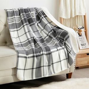 BEDSURE GRAY/WHITE LIGHTWEIGHT PLAID SHERPA THROW for Sale in Los Angeles, CA