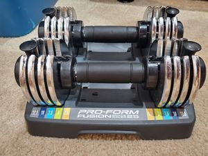 ProForm Fusion Space Saver 25 Double Adjustable Dumbbells w/ Tray 12.5 Lb Each for Sale in Spanaway, WA