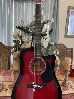 red fever electric acoustic guitar with metal strings for Sale in Bell Gardens,  CA