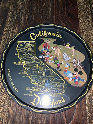Vintage California Disneyland Walt Disney Tray Metal Souvenir Black for Sale in Cleveland, OH