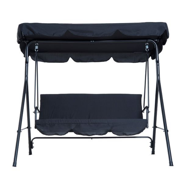 3-Person Steel Outdoor Slight Fabric Porch Swing with Canopy - Black