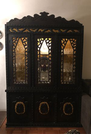 China hutch 2 piece dark wood vintage real wood! for Sale in Mission Viejo, CA