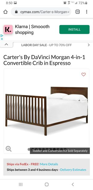 Morgan convertible crib/full bed frame set with dresser etc. for Sale in Escondido, CA