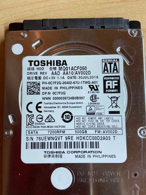 "Toshiba 2.5"" SATA 7200 500 GB HDD for Sale in Montgomery Village, MD"