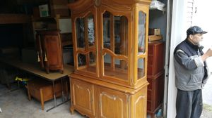Ethan Allen Country Hutch with Light for Sale in Lynnwood, WA
