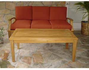 New teak outdoor sofa and teak outdoor coffee table for Sale in Westminster, CA