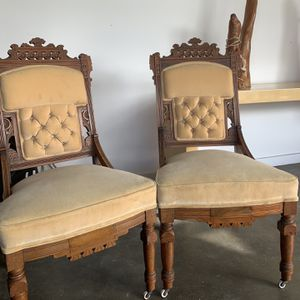 Pair Of Vintage Eduardian Slipper Chairs for Sale in Costa Mesa, CA