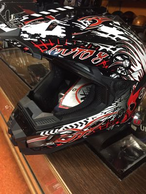 New red white and black dot off road dirt bike motorcycle helmet $85 for Sale in Whittier, CA
