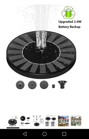 Solar water fountain with battery backup - new for Sale in Naperville, IL