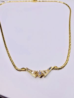 18K Yellow Gold Baguette SnakeChain Necklace for Sale in Palm City, FL