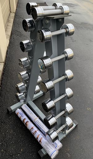 Dumbbells with rack for Sale in Kent, WA