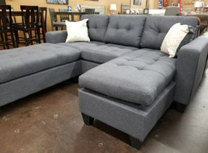 Brand New Grey Linen Sectional Sofa Couch + Ottoman for Sale in DC, US