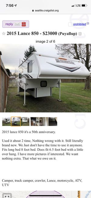 Lance truck camper for Sale in Puyallup, WA