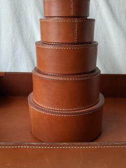 Banana Republic Brown Genuine Leather Round Stackable Storage Boxes Set for Sale in Alpharetta,  GA