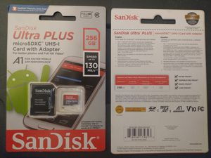 SanDisk Ultra PLUS 256gb Micro SD, A1 UHS-1, Speed up to 130mb/s w/ card adapter NIB for Sale in Edmonds, WA