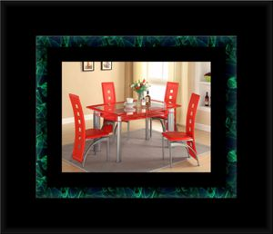 Glass red dining table with leather chairs for Sale in Alexandria, VA