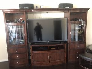 """Real mahogany wood entertainment center fits 70"""" tv for Sale in Fullerton, CA"""