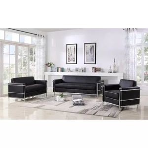 MODERN BLACK BONDED LEATHER CHROME ACCENTS 3 PIECE SOFA LOVESEAT ARM CHAIR SET / SILLONES NEGROS for Sale in Temecula, CA