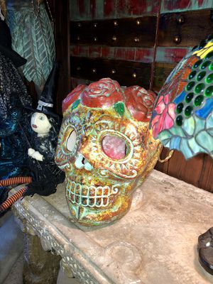 Large concrete hand-painted Halloween sugar skull candle holder for Sale in Palm Harbor, FL