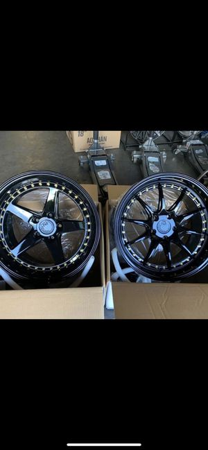 """18"""" new blk rims tires set 5x100 5x114.3 for Sale in Hayward, CA"""