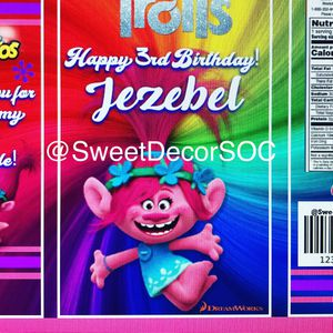 12 Custom Birthday Troll Party Chip Bags for Sale in Dallas, TX