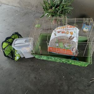 Guinea pig carrier food bedding and cage 25$ pick up only for Sale in Fresno, CA