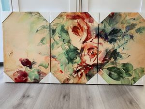 "3 Piece Canvas Wall Decor- Flowers. Modern Home Decor Stretched band Framed Ready to Hang - 16""x24""x 3 panels wall decor. Total size would be 24""x48"" for Sale in City of Industry, CA"