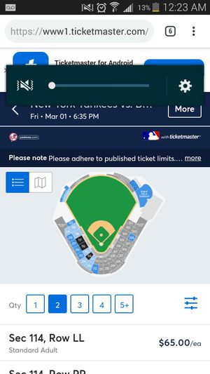 Yankees vs orioles sec 117 March 1 for Sale in Baltimore, MD