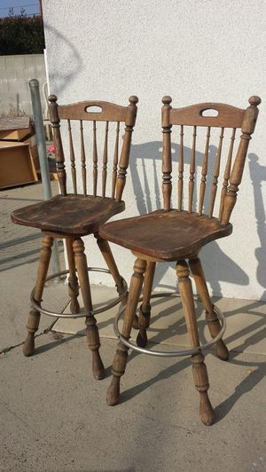 Tall Wooden swivel bar stools -2 for Sale in Los Angeles, CA