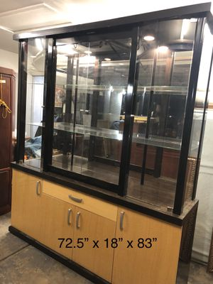 Glass hutch with lighting for Sale in Las Vegas, NV
