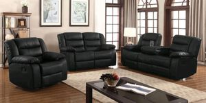 New 3pc Reclining set Black leather for Sale in Puyallup, WA