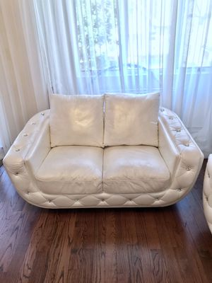 Embellished white Leather couch set retails $2200! for Sale in Brooklyn, NY