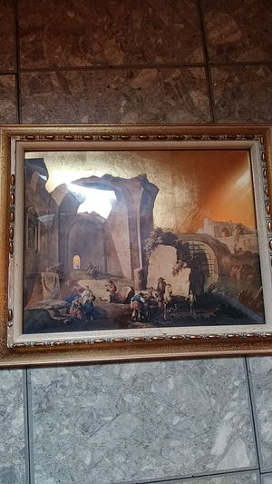 24 karat gold metal picture Roman ruins curved glass for Sale in Philadelphia, PA